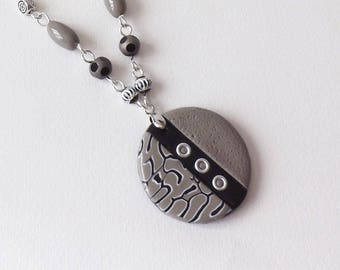 Necklace taupe and black modern chic and elegant