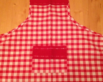 Red and white kids apron