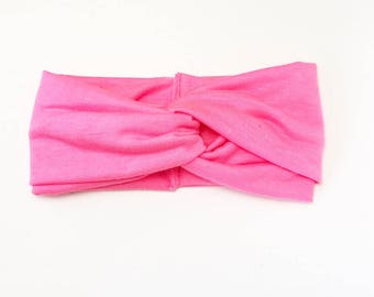 Pink turban or bow headband