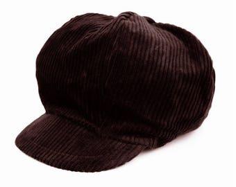 Hat style newsboy dark brown corduroy
