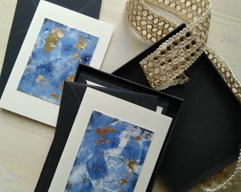 Set of 6 greeting cards handmade with mixed media