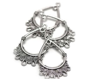 10 chandelier 38 x 24 mm silver a002