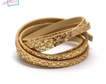 "1.15 m Strip split leather double fantasy ""spangle yarn"" 5 mm, gold/gold"