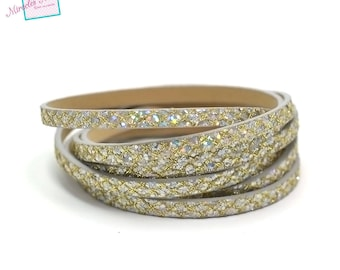 "1.15 m Strip split leather double fantasy ""spangle yarn"" 5 mm, gold/silver/gray"