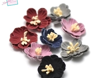 4 flowers in faux leather (suede) 21 x 7 mm, assorted color