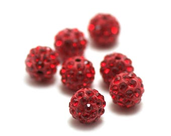 20 rhinestone 10 mm red shamballa beads