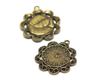 "4 pendant/charm ""clock"", 32 x 29 mm, bronze"