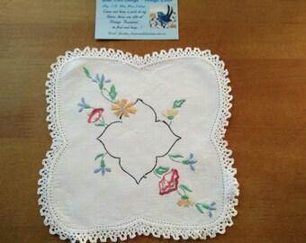 Vintage Hand Embroidered Doily - Wild Flowers - poppies, cornflowers, daisies