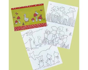 Small size animal themes, characters, coloring book...