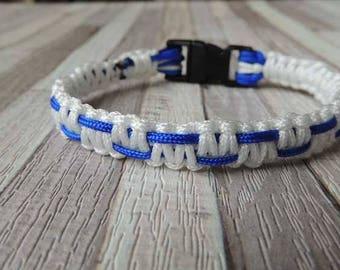 Men's two-tone white and blue effect bracelet macrame chart