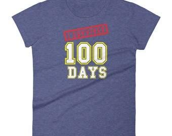 I Survived 100 Days of School womens t-shirt grammar school great gift school calendar celebration special day education teachers students