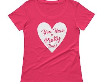 Women's Pretty Heart white scoopneck shirt Valentines Day sweetheart great gift date night flowers chocolates boyfriend girlfriend