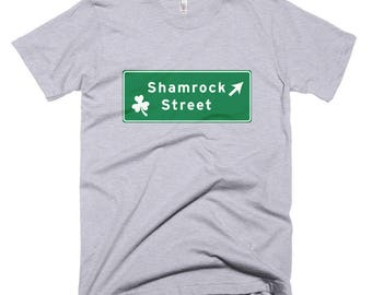 Shamrock Street Sign silly st patricks day t-Shirt leprechaun 4 leaf clover parade Ireland Irish erin go bragh shenanigans