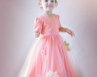 Babygirl dress, Toddler dress, Fancy dress, Peach dress for baby girl, Flower girl dress, Long dress