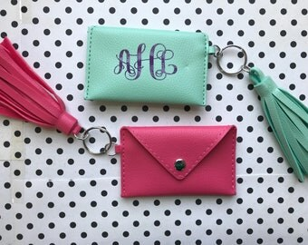 Monogrammed keychain credit card/driver's license pouch with tassel