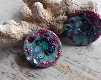 turquoise enameled brass and fuchsia for creating jewelry charms