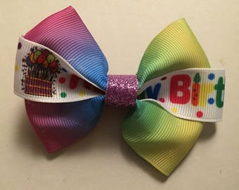 Rainbow birthday bow