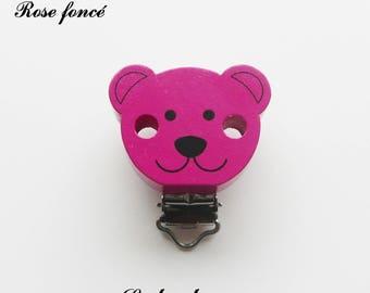 Clip / bow, wooden pacifier Clip, Teddy bear: dark pink