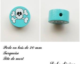 Wooden bead of 20 mm, flat, skull bead: Turquoise