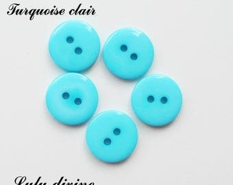 Set of 5 buttons round 15 mm 2-hole: light Turquoise