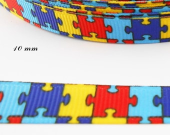 Colourful puzzle with 10 mm grosgrain Ribbon sold by 50 cm