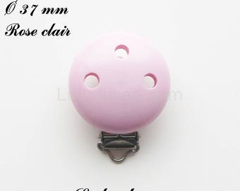 Clip / wooden pacifier Clip, Ø 37 mm from loop: light pink