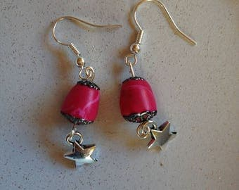 Earrings in polymer with charm