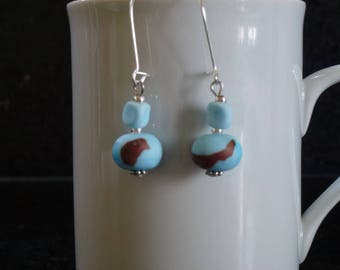 Blue and Brown Lampwork Glass beads earrings