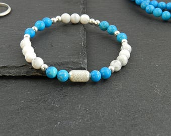 Bracelet from magnesite & Turquenit with silver