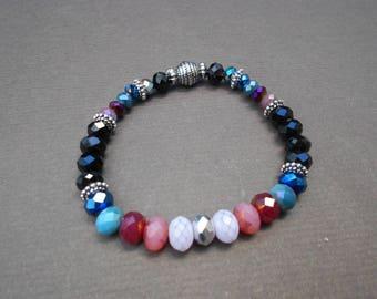Stretchy bracelet,Multicolour bracelet,Glass bracelet,Boho bracelet,Beaded bracelet,Stackable bracelet,Czech glass bracelet