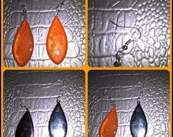 Drop shaped dangling earrings