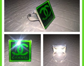 Square with Chanel brand logo ring