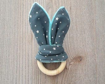 baby Bunny in a teal blue starry shape teether