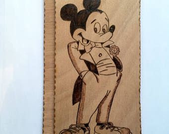 Pyrography on wood Mickey Mouse the little mouse by Disney
