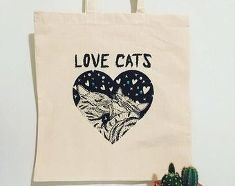 """The Cure """"Love Cats"""" (Robert Smith) Cotton Tote Bag Handmade - illustrated & sequins - Eco friendly gift, shoulder book bag, shopping bag"""