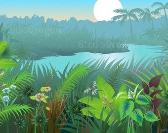 Jungle Landscape, tropical, moonlight, garden, river, palm trees, flowers, banana leaves, aqua, green, graphic art download, clip art