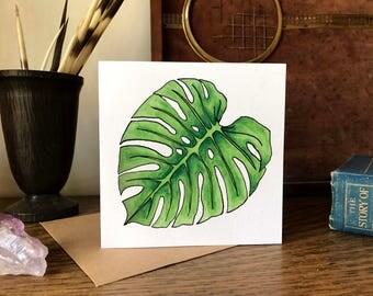 Single Monstera Palm Leaf Illustration Greetings Card