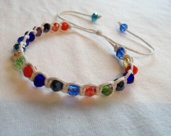 Crystal bead macrame friendship bracelet *.