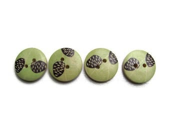 4 buttons green pattern wooden pinecone black 17mm