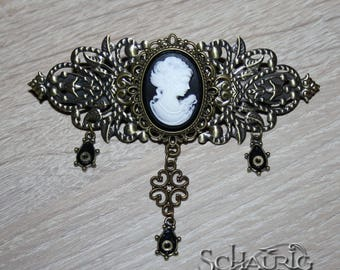 Steampunk hair clasp with gem