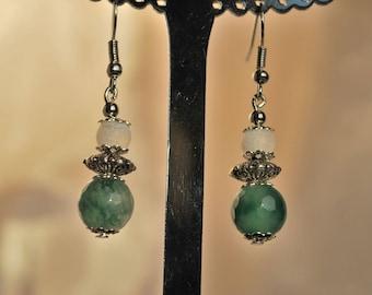 Green Moss agate earrings.