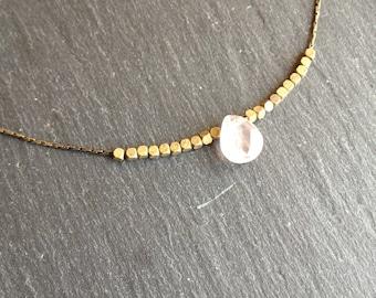 Pink fine quartz Choker necklace
