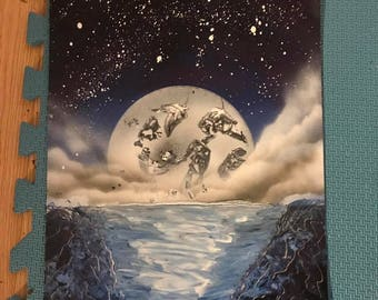Spray Paint Art - Once in a Blue Moon
