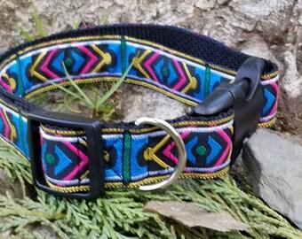1 inch dog collar, dog collar, bohemian dog collar, Aztec dog collar, fancy dog collar, pretty dog collar, dog leash, adjustable dog collar