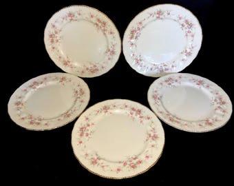 Paragon Victoriana Rose Dinner Plates Set Of 5 Bone China England