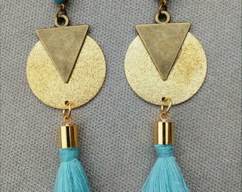 Tassel earrings sky blue, triangle, sequin gold sequin granite