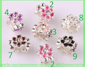 European N566 N7 bracelet charms flower rhinestone Pearl