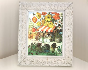 Woodland Illustration for Nursery. Vintage children's book picture for framing. Image showing frogs, mice, mole, hedgehog, bird drinking