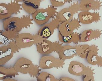 pin badge set. Set of 3 pins / customise denim / cute gift, cactus, fruits, succulent, retro pin badge, christmas gift, stocking filler