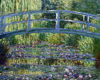 ORIGINAL design, durable and WASHABLE PLACEMAT - Claude Monet - the Japanese bridge - classic.